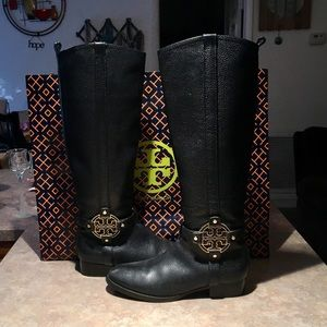 Tory Burch Black Leather Amanda Riding Boots 8.5
